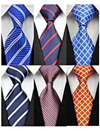 Pack of 6 Classic Men's Silk Polyester Tie Necktie Woven JACQUARD Neck Ties