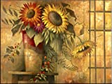 Ceramic Tile Mural - Country Sunflowers II - by Elaine Vollherbst-Lane - Kitchen backsplash / Bathroom shower