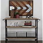 """Deco 79 50203 Industrial Metal & Wood Table Rolling Cart with Drawer Baskets, 48"""" x 32"""""""