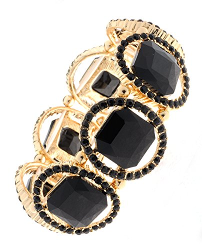 Onyx Rectangular Bracelets (Women's Rectangular Stud Gemstone Evening Stretch Bracelet, Faux Onyx Stone, Gold-Tone)
