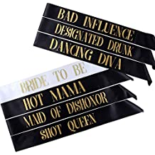 Pack of 7 Bachelorette Sashes- Includes 1 Bride to Be sash and 6 Bridesmaid Sashes