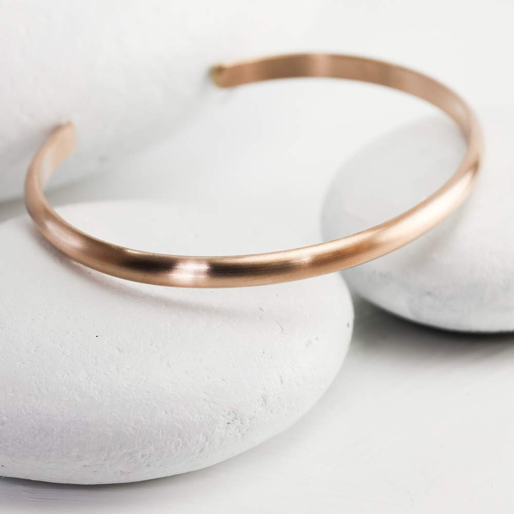 Simple Pink Gold Bangle Wide Matte Rose Gold Cuff Bracelet