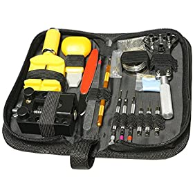 Professional Deluxe Practical 150 PCS Wrist Watch Repair Tools Kit Set with Wrench Spring Bar and Back Case Cover Opener Knife Band Resizing Tool
