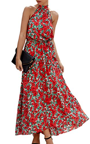 ECOWISH Women Dress Halter Neck Boho Floral Print Sleeveless Casual Backless Maxi Dresses with Belt - http://coolthings.us