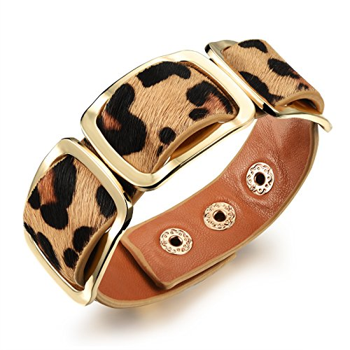 OPK Jewelry Retro Wild Design Women Rivet Bracelet Wide Wrap BangleWristband, Black/Orange/Leopard Print