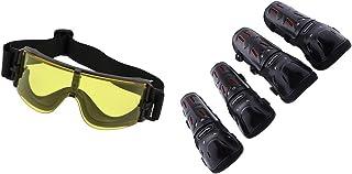 B Baosity Sets de Sport Protection Equipement de Protection Lunettes de Sécurité 4pcs Genouillère Coudières Coude Protections Unisexe