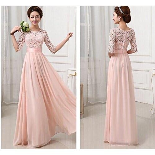 0815772ae Smile YKK elegante encaje gasa mujeres noche vestido largo de fiesta  princesa rosa rosa Medium 70