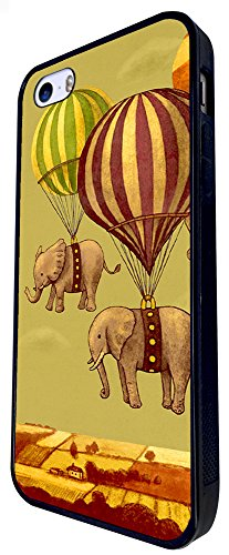 062 - Flying Elephants Cool Funky Design iphone SE - 2016 Coque Fashion Trend Case Coque Protection Cover plastique et métal - Noir