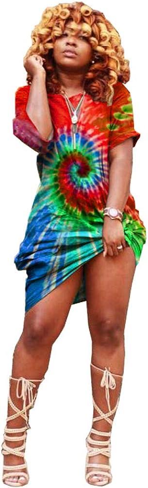 Tie Dye Print Dresses Loose...