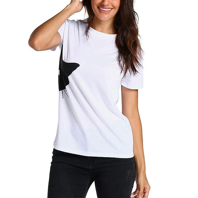 TOPKEAL Camiseta Suelta de Manga Corta con Estampado de Gatos para Mujer: Amazon.es: Ropa y accesorios