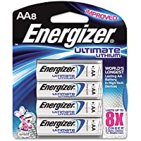 Lithium Batteries, AA, 8/Pack, Sold as 2 Package