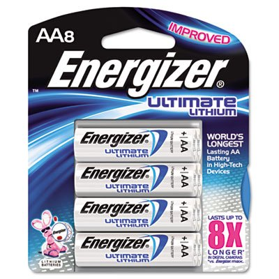 Lithium Batteries, AA, 8/Pack, Sold as 2 - Aa 2pk Lithium Battery