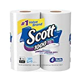 Health & Personal Care : Scott 1000 Sheets Per Roll Toilet Paper, 4 Rolls, Bath Tissue