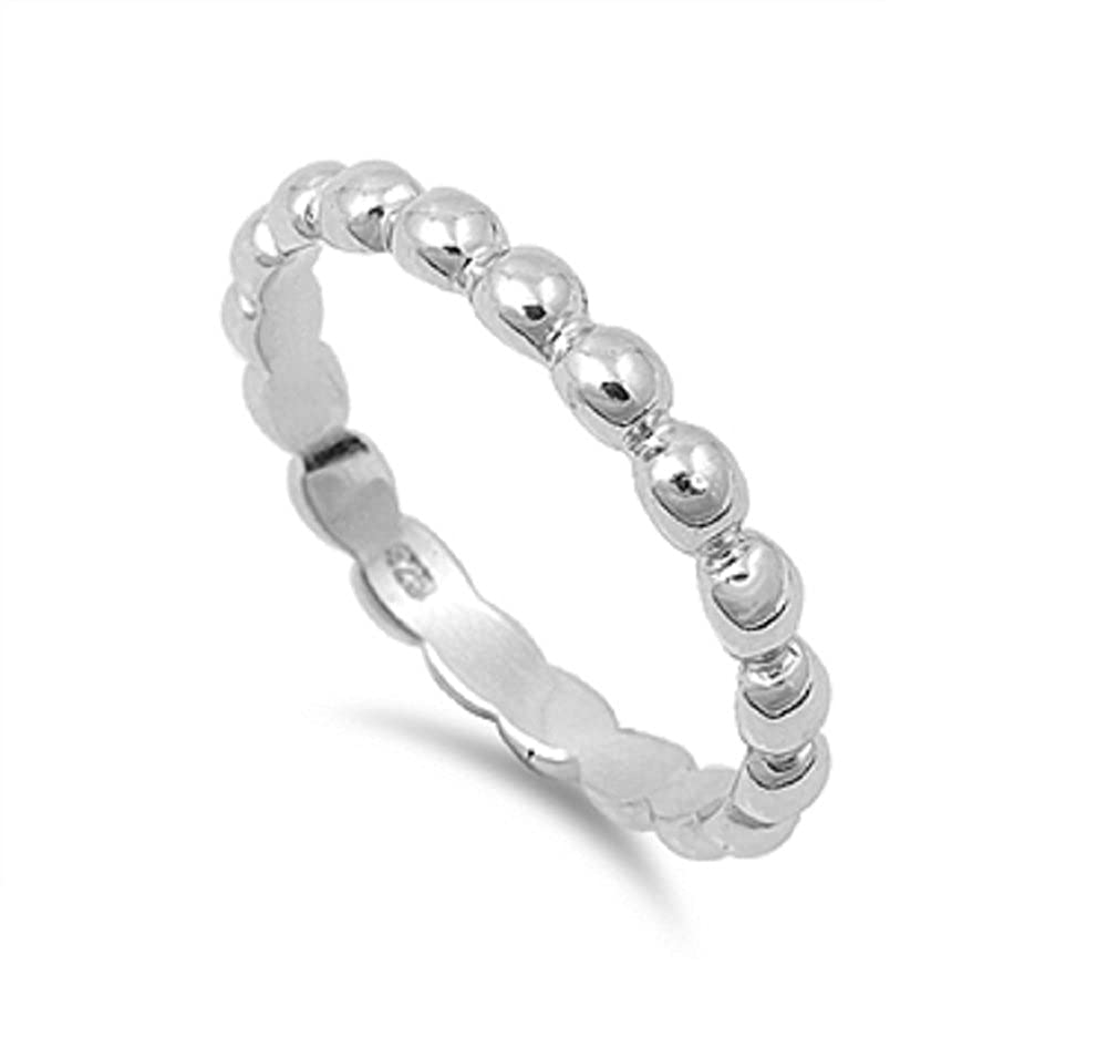 Princess Kylie 925 Sterling Silver Eternity Beaded Design Ring