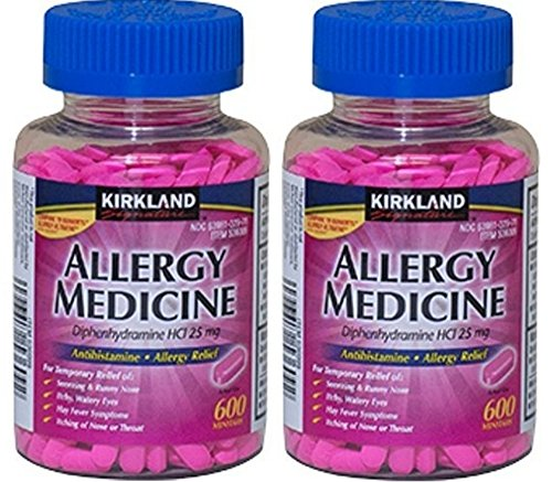 Diphenhydramine HCI 25 Mg - Kirkland Brand - Allergy Medicine and AntihistamineCompare to Active Ingredient of Benadryl® Allergy Generic 1200 count by Kirkland Signature