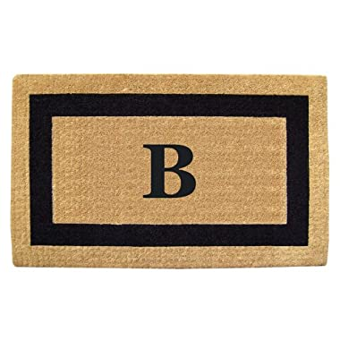 Creative Accents Single Picture Black Frame Heavy Duty Coir Doormat, 22 by 36-Inch, Monogrammed B