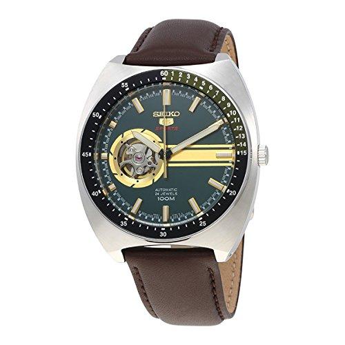 SEIKO 5 Sports 100M Retro Automatic Open Heart Calfskin Watch Green SSA333K1 (Seiko Mens Watch 50mm)