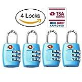 TSA Luggage Locks,TSA Approved Travel Combination Luggage Locks for Suitcases-4 Pack (Blue)