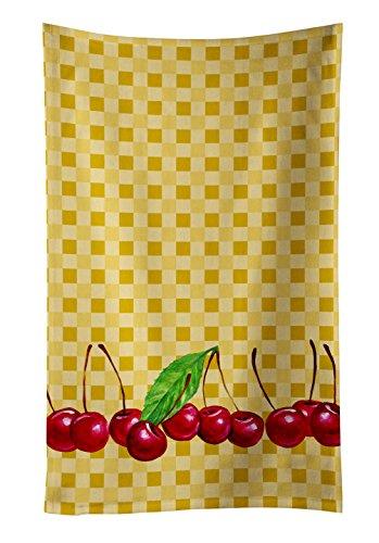 - Caroline's Treasures BB7168KTWL Cherries on Basketweave Decorated dish towel, 25Hx15W, Multicolor