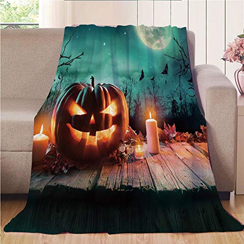 Blanket Comfort Warmth Soft Air Conditioning Easy Care Machine Wash House,Halloween,Fantastic Magic Night Spooky Atmosphere Candles Pumpkin on Wooden Planks Print,Multicolor,47.25