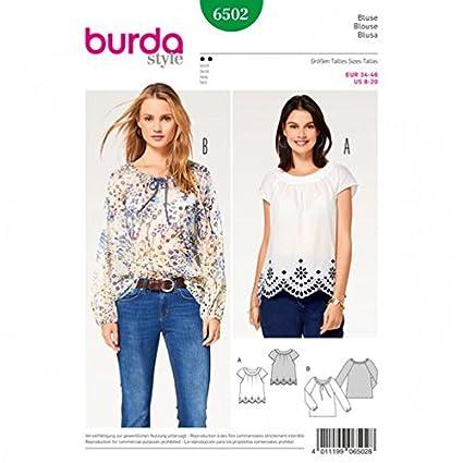 Amazon Burda Ladies Easy Sewing Pattern 6502 Peasant Blouse Tops