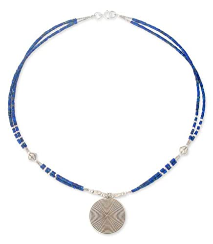 NOVICA Lapis Lazuli .925 Sterling Silver Beaded Necklace, 17.75 Mind Journey