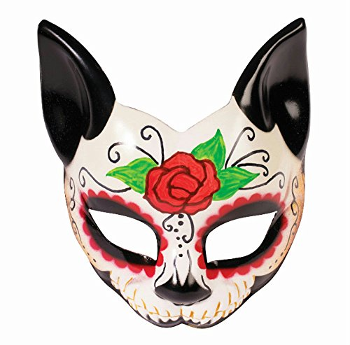 Day Of The Dead Adult Half Mask (Forum Novelties Day of the Dead Cat Half Mask)
