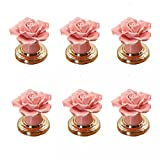 Pink Ceramic Rose Door Knobs Flower Shaped Dresser Knobs Fashion Cabinet Drawer Kitchen Door Pulls and Handles for Home Decoration with Screw by Choubao - 6PCS