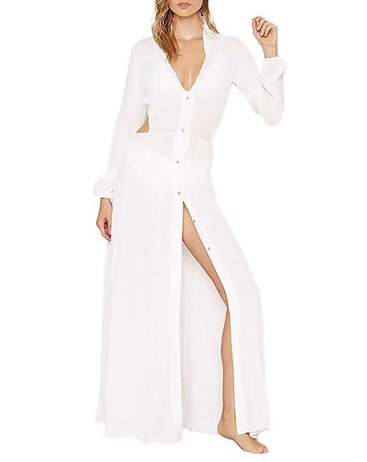 Vestidos Verano Mujer Manga Larga V Cuello Espalda Abierta con Abertura Elegante Largos Vestido Playa Moda Casual Fiesta Dresses Señoras Sencillos Blanco ...