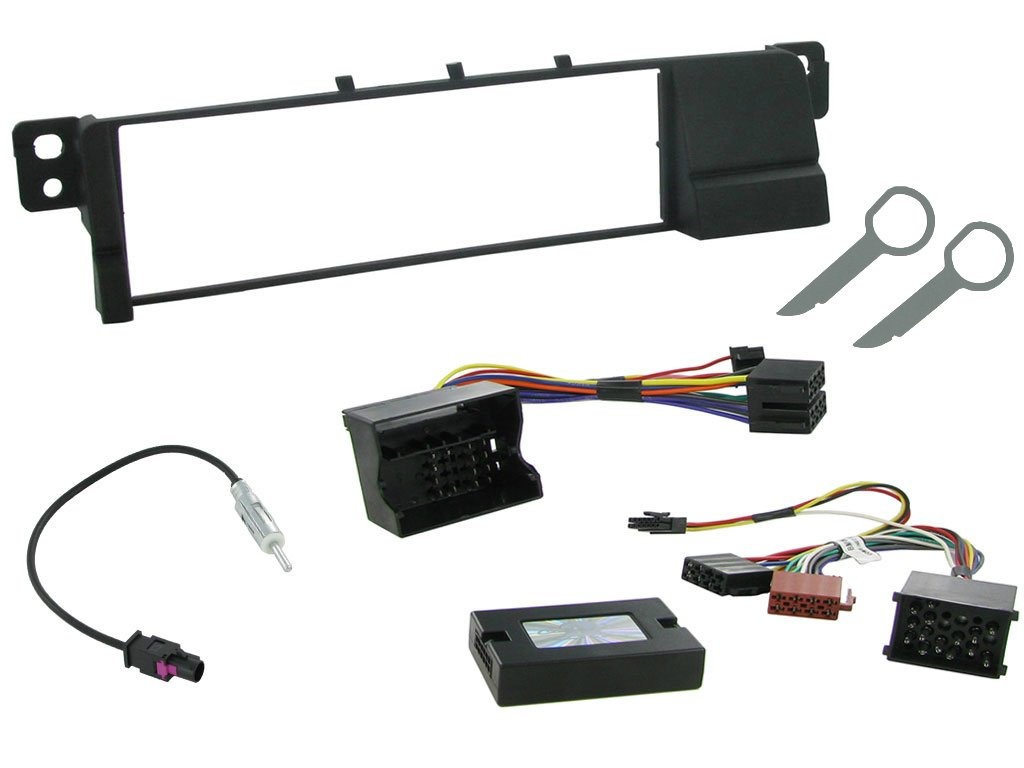 ISO Wiring Loom For Aftermarket Car Radio Stereo Head Unit Sound System. Single DIN Fascia Adapter Plate Kit XtremeAuto/® BMW 3 SERIES E46 Supports Steering Column Radio Controls 2001-2005