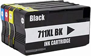 No-name Compatible Ink Cartridge Replacement for HP 711 XL 711XL HP711 HP711XL Designjet T120 24/T120 610/T520 24/T520 36/T520 610 Inkjet Printer (1 Black 1 Cyan 1 Magenta 1 Yellow, 4 Pack)