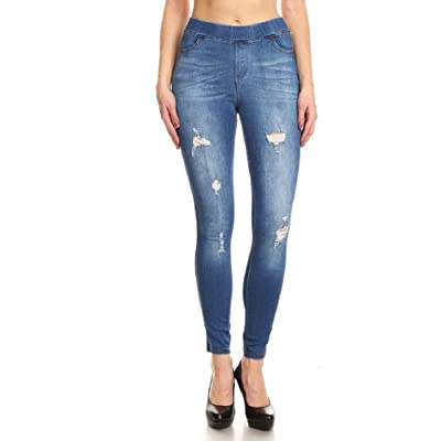 Women's Stretch Pull-On Skinny Ripped Distressed Denim Jeggings Regular-Plus Size at Women's Jeans store