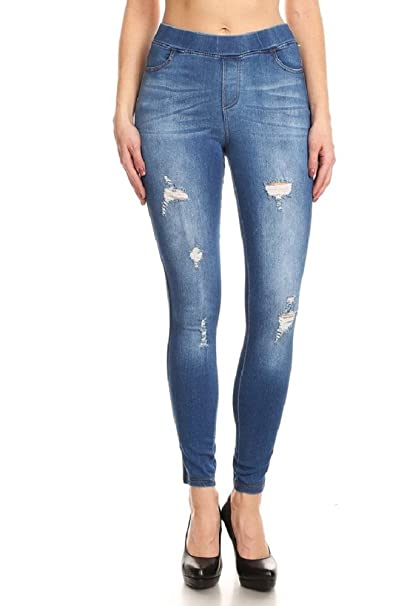 096d7f466a3 Women s Stretch Pull-On Skinny Ripped Distressed Denim Jeggings W Pockets  Blue S