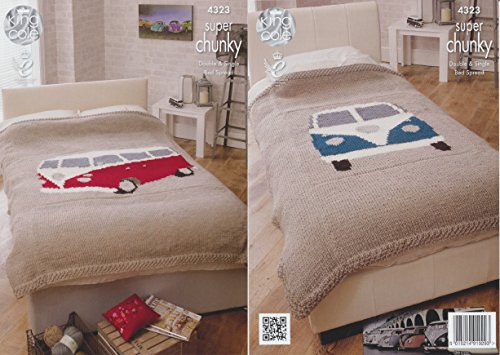 King Cole Home Accessories Chunky Knitting Pattern – Camper Van Style Bedspreads 4323