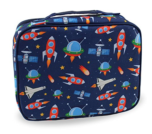 3cf8058ee265 Lunch Box Outer Space Rocket Ships in Dark Navy Blue with Matching Sandwich  Cutter (Outer