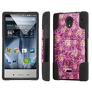 NakedShield Sharp AQUOS Crystal Flowers Texture T Armor Tough Shock Proof KickStand Phone Case