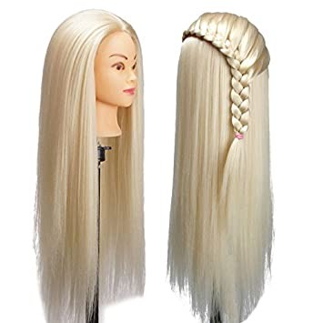 Beauty & Health United 24 Mannequin Synthetic Fiber Blond Long Hair Hairdresser Training With Clamp Stand Practice Salon Mannequin Braid Maintenance