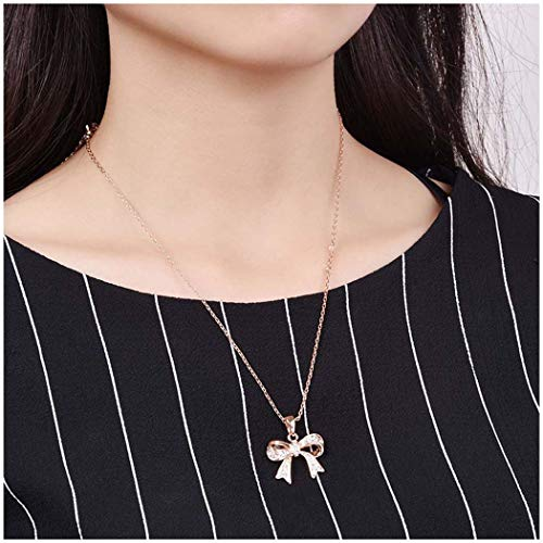 Women pendant Bow Knot Ribbon Necklace Fashion Cubic Zirconia CZ Butterfly Knot Chains Jewelry for Girls and ladies (Gold)