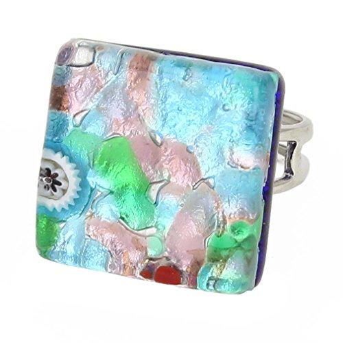 GlassOfVenice Murano Glass Venetian Reflections Square Adjustable Ring - Silver ()