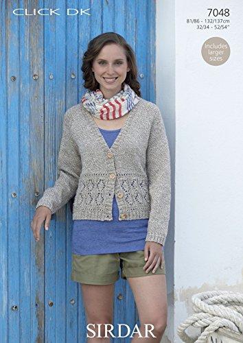 c8d2a979f Sirdar Click DK Ladies V Neck Cardigan Knitting Pattern 7048  Amazon.co.uk   Kitchen   Home