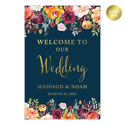 Andaz Press Personalized Extra Large Wedding Easel Board Party Sign, 12x18-inch, Fall Autumn Orange Burgundy Coral Roses on Navy Blue, Welcome to Our Wedding Bride Groom Name Date, 1-Pack, Custom -