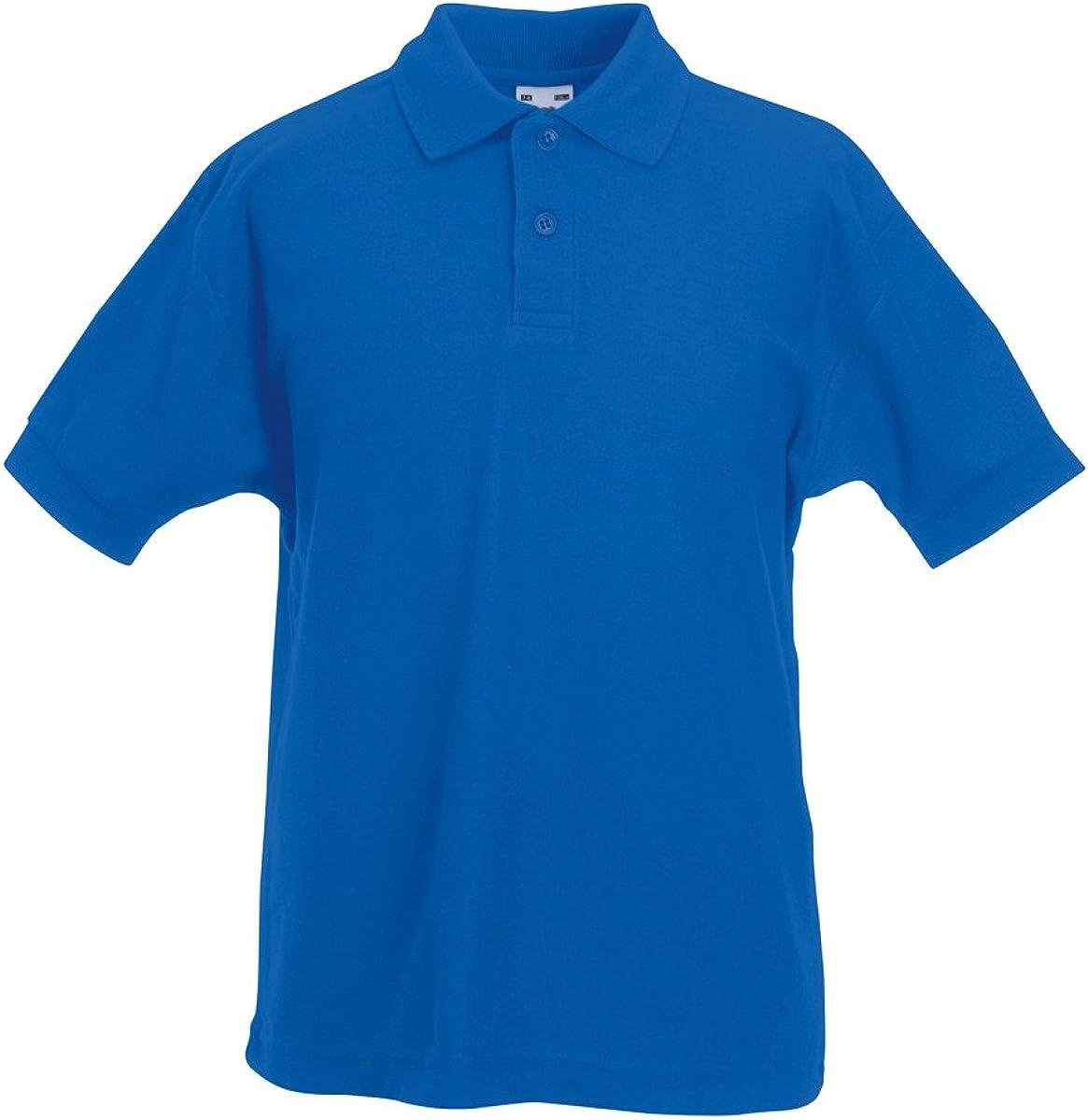 Fruit of the Loom Kids Short Sleeve 65//35 Pique Polo T Shirt-12 Tshirt Colours