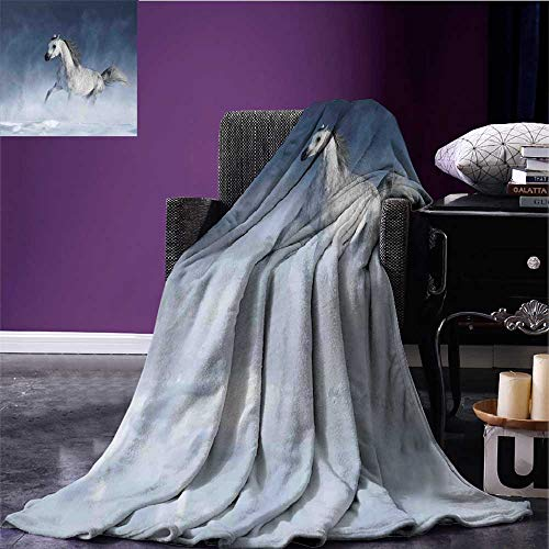 sunsunshine Arabian Cozy Flannel Blanket Arabian Horse Galloping During a Snowstorm Stallion Winter Snow View Equine Print Print Summer Quilt Comforter Night Blue Bed or Couch 60