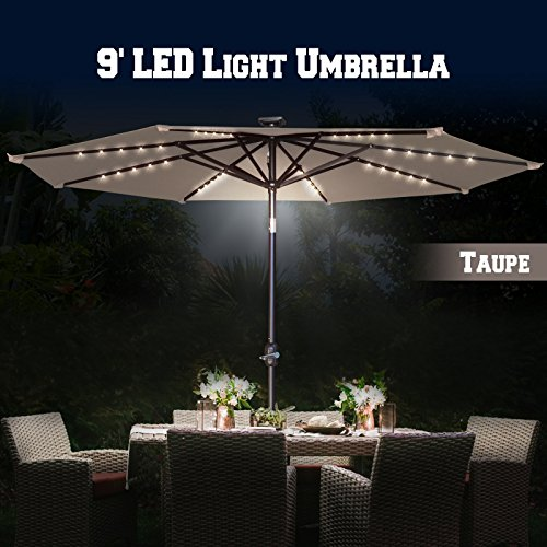BenefitUSA 8Ft Aluminum Patio Umbrella with LED Lighting with Tilt System (Taupe Lighting)