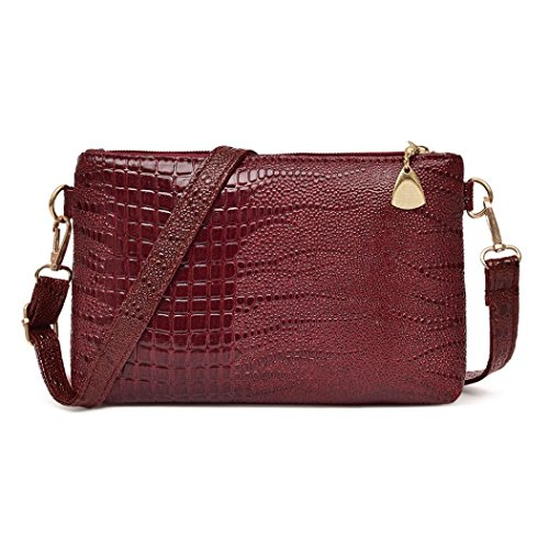 IEason bag, Women Fashion Handbag Crocodile Pattern Shoulder Bag Small Tote Ladies Purse (Wine)