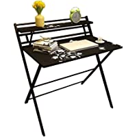 Modern and simple study desk Folding Desk No Assembly Required 2 Tiers Computer Desk with Shelf Multipurpose Laptop PC…