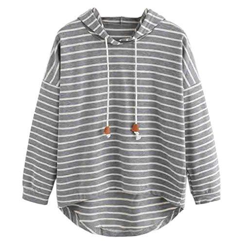 (Sweatshirt Hoodie Women Plus Size MITIY Stripe Casual Long Sleeve Crop Jumper Pullover Tops)