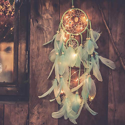 Light Up Dream Catchers for Bedroom Wall Hanging Decorations, LED Dreamcatcher Home Ornaments with 20 LED Lights,Fantasy Gifts for Kids, Caught your Dream (Light Green)