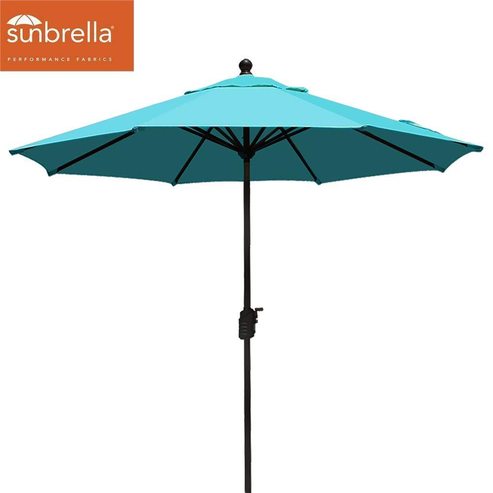 EliteShade Sunbrella 9Ft Market Umbrella Patio Outdoor Table Umbrella with Ventilation (Sunbrella Turquoise)