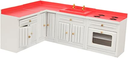 1//12 Un Set de Muebles de Cocina en Miniatura de Casa de Mu/ñecas